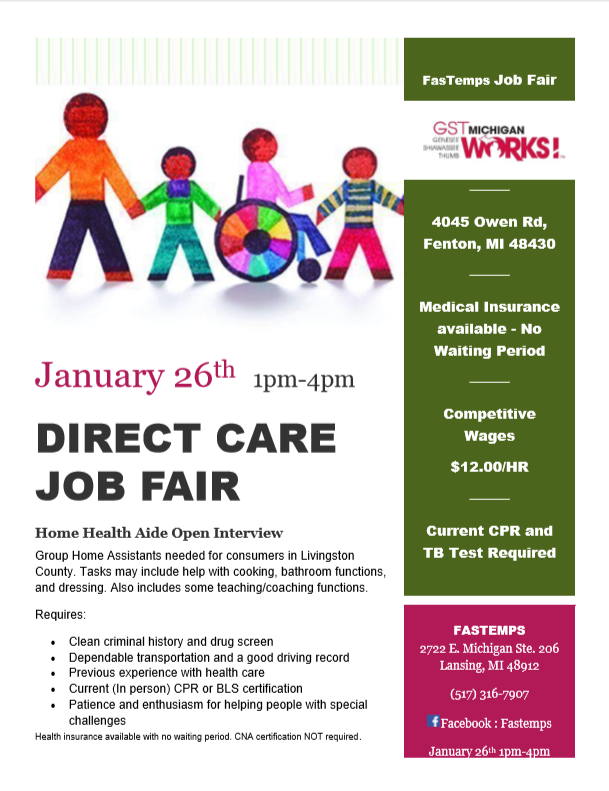 Caregiver Job Fair Gst Michigan Works
